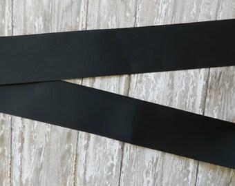 3 Yards of   2 1/4 Inch Black Grosgrain Cheer Ribbon