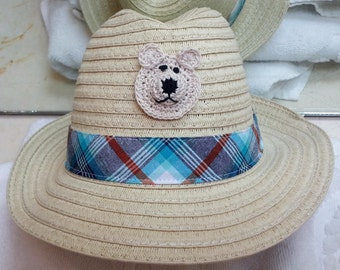 Boys Infant Toddler Tan Straw Fedora Hat Cap - Handmade Teddybear Face - Blue Plaid Stripe - Sizes 3-6, 6-12, and 12-18 months