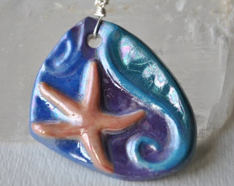 Starfish necklace, handcraft ceramic blue pendant on sterling silver chain, simple necklace, sea life necklace