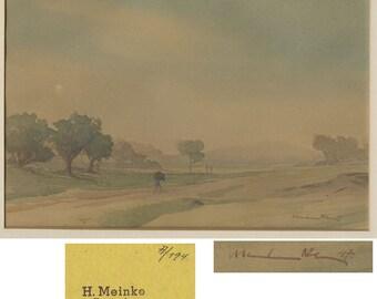 Original antique landscape watercolor painting by Hans Meinke Germany
