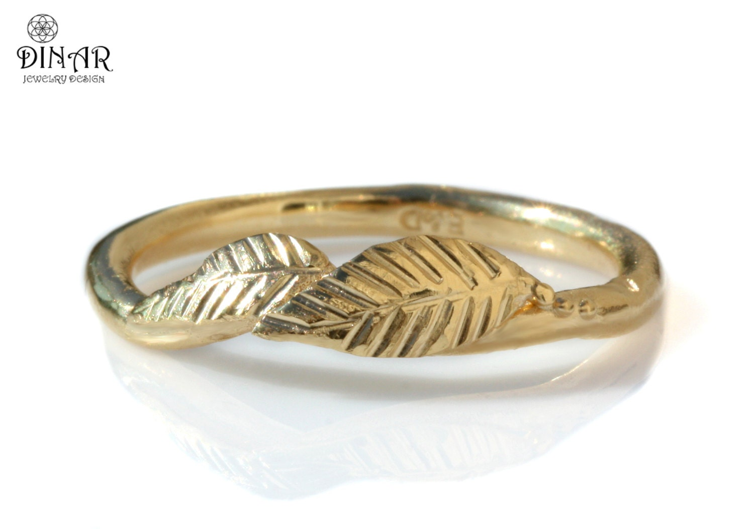 leaf wedding ring 14k yellow gold texture engraved leafs