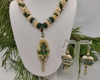 Set - Cream and Sage Green Kumihimo Necklace with Lampwork Pendant and Matching Earrings SRAJD 3520 LETeam