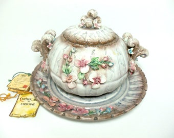 Capodimonte Dei Visconti Mollica, Covered Dish with Plate, Exceptional, 1970s, from Naples Italy