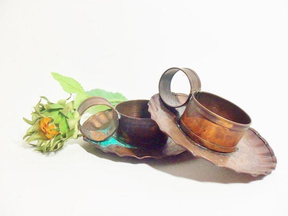 Candle Holders, Copper, Pair of Pfaltzgraff Village, Solid Copper, Candle Holders, Scalloped Edges, Rustic Primitive