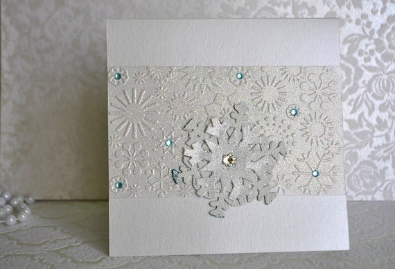 Winter Themed Wedding Invitations: Ice Crystal Winter Wedding Invitation. Snowflake Invitation
