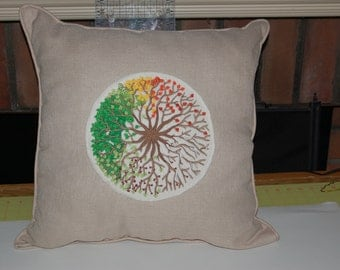 """All Seasons Decorative Pillow Embroidered with """"The Seasons Tree"""" Pillow"""