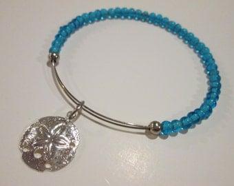 Sea treasure expandable beaded wire bangle bracelet