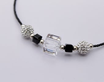925 silver and crystal beads for this elegant choker