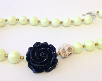 Yellow & Black Rose Necklace