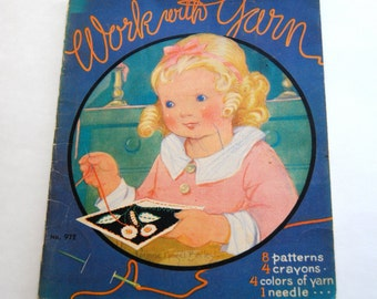 Vintage Children's Activity Book, Work with Yarn