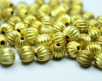 96 Pieces Raw Brass 5 mm Metal Bead