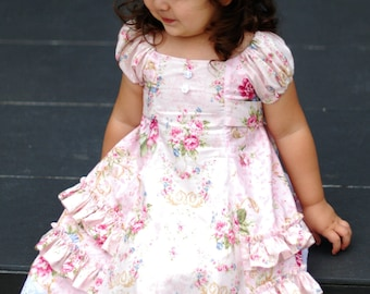 SALE...Buy 2 get 1 free..Cherry Strudel Girls Peasant Style Dress Tunic Instant Download PDF Sewing Pattern, 3-6m to 10