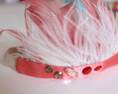 Baby Girl Feather Headband Head Piece Coral Pink Feathers