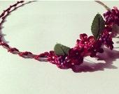 Woodland Burgundy Red Autumn Fall Flower Pansy Wedding Hair Accessory Festival Hippie Hair Floral Wreath Crown Headband