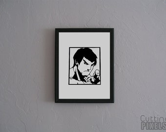 Fei Long Street Fighter  Hand cut paper art black silhouette paper cutting