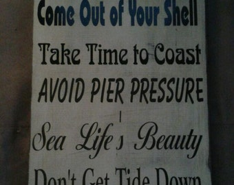 Ocean Primitive Wood Sign