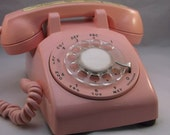Telephone Rare Pink Rotary desk top phone .epsteam