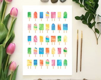 Watercolor popsicles - print, summer, ice cream, ice block, watercolour