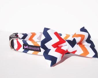 Chevron Dog Collar Bow Tie Set - Multi-Colored Boy