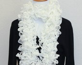 Hand Knitted Ruffle Scarf White Eye Catching Scarf