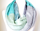 MINT INFINITY SCARF and Nursing Scarf Mint green color block Circle Scarf  Gift Ideas for Her Trending Items  Women's Fall Fashion Accessory