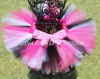 Zebra Minnie Mouse Tutu with Pink Polka Dot Bow - Birthday Tutu