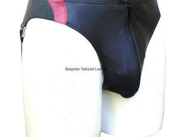 Leather Jocks Jockstarp With Colour Stripe Custom Made To Order JO-011