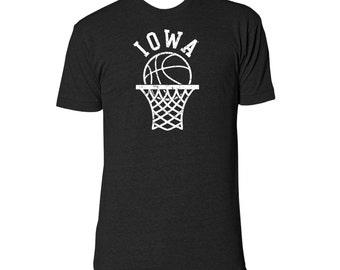 Iowa Retro Basketball Hoop Tee - Tri-Black