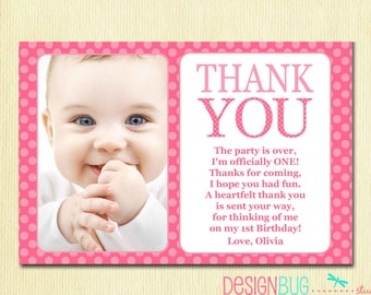 First Birthday Matching Thank You Card 4x6 - The Big ONE - DIY Printable Thank You - Pink Polka Dots - 1 year old - 1st Birthday