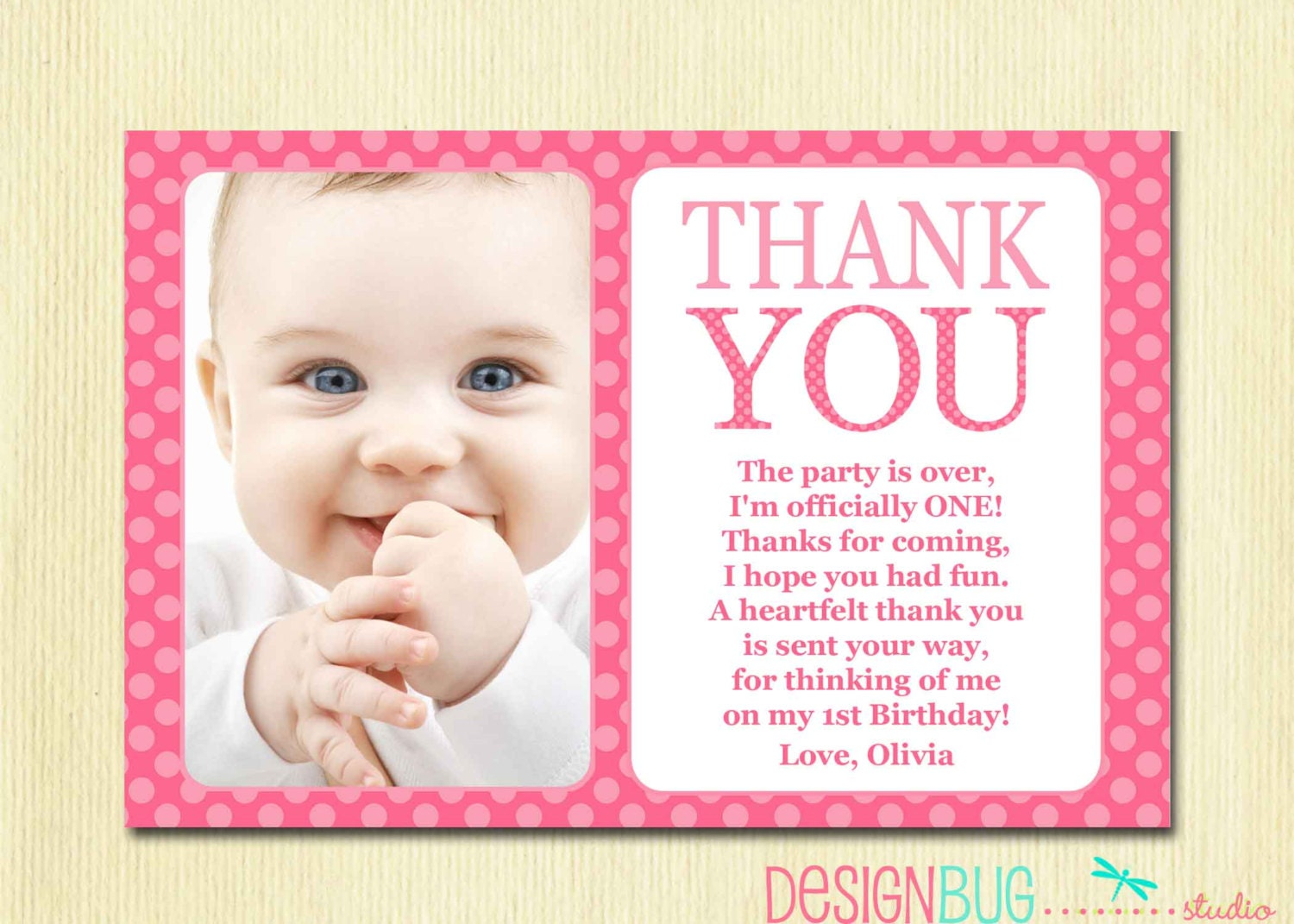 First Birthday Matching Thank You Card 4x6 The Big ONE DIY