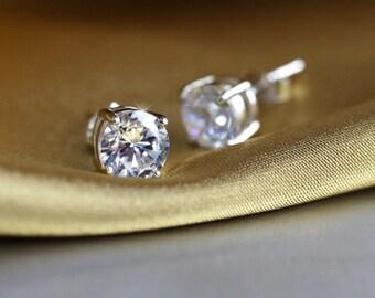 Solitaire Earrings. Sparkle Cubic Zirconia Earrings. Silver Stud Earrings. Bride Earrings. Sterling Silver. Sparkle Jewelry. Stud Earrings