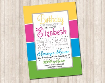 Color Block Party Invitation