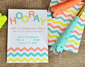 HOORAY Party Invitation with Envelopes, Digital Download JPG, and Note Cards