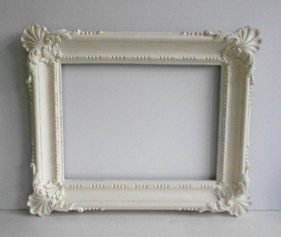picture frame large 12x16 vintage ornate shabby chic baroque antique white distressed