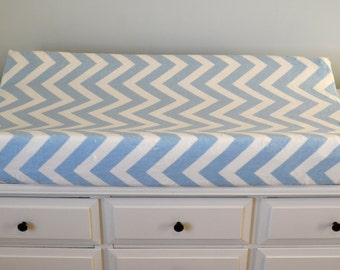 Baby Blue and White Chevron Changing Pad Cover - Blue and White Chevron Contoured Minky Cover - Personalized Changing Pad Cover