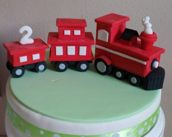 Choo Choo Train Fondant Cake Topper - Handmade Edible Cake Topper - 1 Set