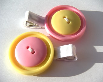 Yellow and Pink Button Hair Clip Set - Yellow and Pink Hair Clips - No Slip Grip Clip