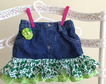 St Patricks Day Themed Denim Skirt - Size 3 Mos.