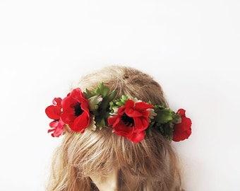 Wedding Flower Crown, Floral Crown, Woodland Bridal Headpiece, Pink Purple Hair Accessories
