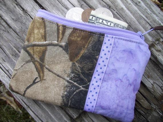 Lavender & Camo Coin Purse, Camo Zipper Wallet