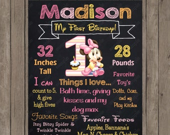Baby Minnie Mouse 1st Birthday  Girl Chalkboard Custom Color Printable Poster - Digital File