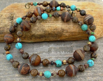 Agate-striped Jasper and Turquoise Necklace - Small to Plus Size Necklace, 17 inch, 19 inch, 21 inch, 24 inch, 26 inch, 28 inch, or 30 inch