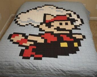 Mario or Luigi 8Bit Comforter Quilt