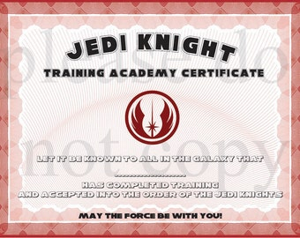Popular items for jedi certificate on etsy for Jedi knight certificate