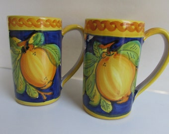Large Pottery Mugs Made in Italy Handpainted Orange Tree