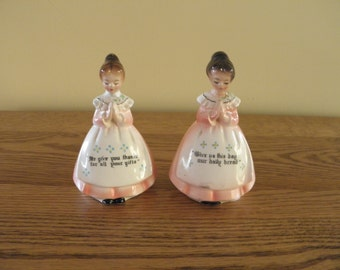 Enesco Prayer Lady Salt and Pepper Shakers