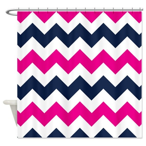 Chevron Shower Curtain Navy Blue Hot Pink White Zig Zag