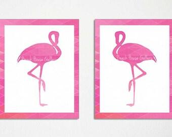 Flamingo Print, Flamingo Art, Pink Flamingos Wall Art, Hot Pink Wall Art, Chinoiserie Chic,  Flamingo Painting, Geometric Art