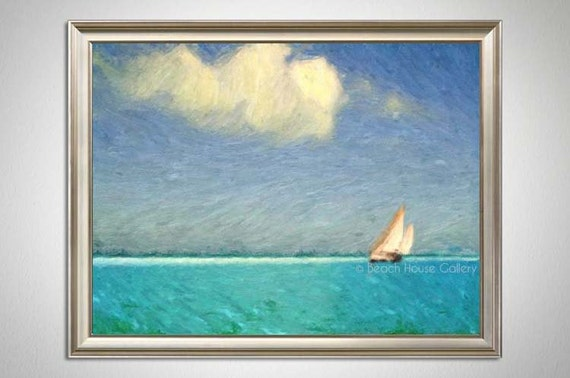 Ocean Turquoise Teal, Seascape, Sailboat, Ocean Art, Beach House Gallery, Living Room Art, Beach Abstract, Gulf of Mexico, Florida
