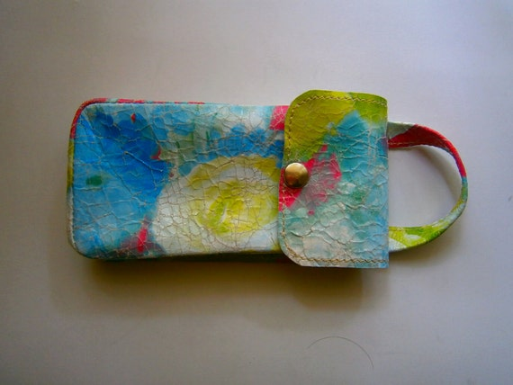 Flowered Cosmetic pouch, Hand Bag, Handmade Pouch, Gift for her,Leather Pouch,  Genuine Flowered Leather Pouch